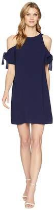 London Times Catalina Crepe Cold Shoulder Shift Women's Dress