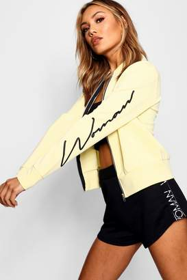 boohoo Woman Sleeve Slogan Scuba Bomber Jacket