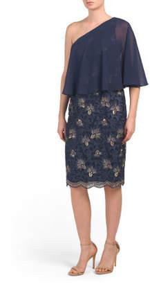 One Shoulder Lace & Chiffon Dress