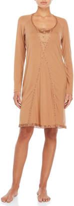 La Perla Satin Trim Long Sleeve Night Dress