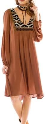 Anama Geometric-Yoke Midi Dress
