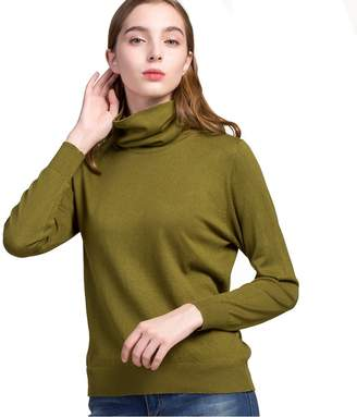 d9c103b26be2 Funme Women s Silk Cashmere Turtleneck Long Sleeve Pullover Sweater