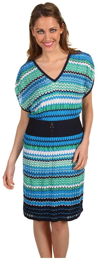 Laundry by Shelli Segal Multi-Stitch Sweater Dress (Midnight Multi) - Apparel