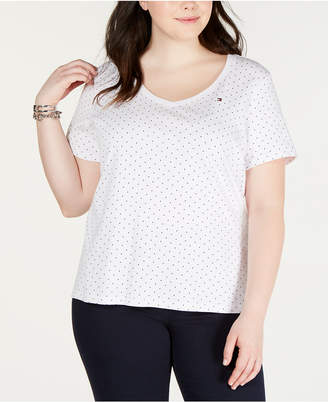 Tommy Hilfiger Plus Size Cotton Polka Dot T-Shirt