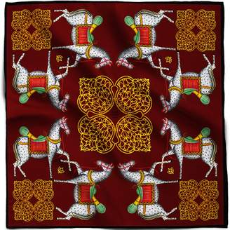 House of Gharats - Kalighat Horse Silk Scarf Collection Maroon & Yellow