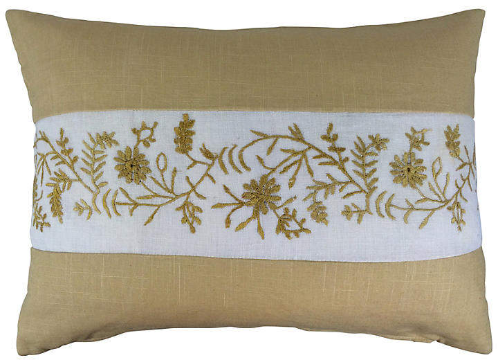 Linen Pillow with English Embroidery