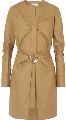Carven Pearl-embellished Ruched Cotton Mini Dress - Brown