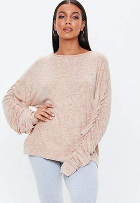 Missguided Camel Brushed Ruched Sweatshirt