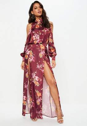 Missguided Purple Split Front Floral Satin Maxi Dress