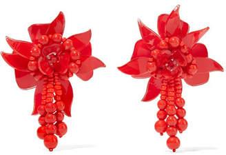 Oscar de la Renta Flower Field Beaded Acetate Clip Earrings - Red