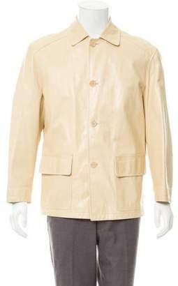 Prada Button-Up Leather Coat