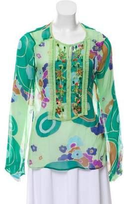 Antik Batik Beaded Silk Chiffon Top