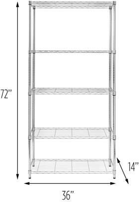 Honey-Can-Do 5-Tier Heavy-Duty Adjustable Shelving Unit, Chrome