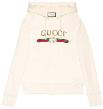 Gucci Oversize embroidered hooded sweatshirt