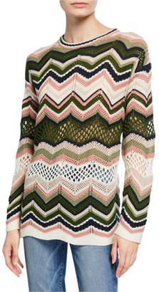 M Missoni Zigzag Crochet Long-Sleeve Tunic