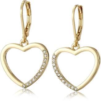 "T Tahari Essentials"" Heart Charm Drop Earrings"