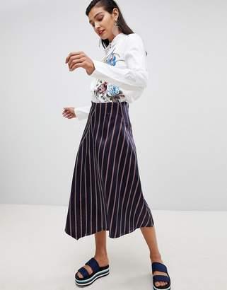 Sportmax CODE Code Midi Wrap Skirt in Stripe