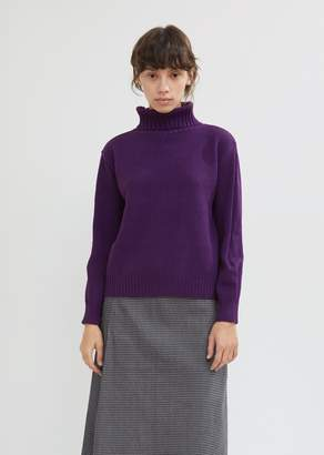Blue Blue Japan Ridge Pattern Cropped Turtleneck