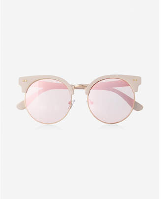 Express pink heavy brow mirror lens sunglasses