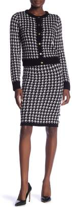 Vertigo Houndstooth Button Blouse & Skirt Set