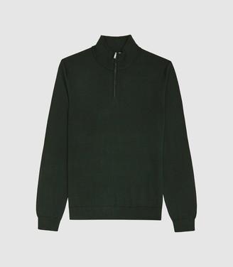 Reiss Blackhall - Merino Wool Zip Neck Jumper in Forest Green