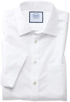 Charles Tyrwhitt Slim Fit White Non-Iron Poplin Short Sleeve Cotton Dress Shirt Size 17.5/Short