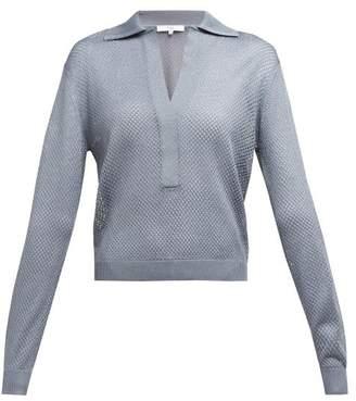 Tibi Mesh Collared Sweater - Womens - Grey