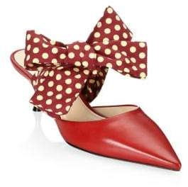 Prada Point Toe Mules With Bow