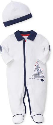 Little Me 2-Pc. Breezy Sails Cotton Coverall & Hat Set, Baby Boys