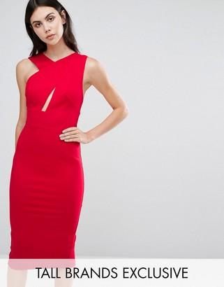 Taller Than Your Average TTYA Black Talex Sleeveless Asymmetric Detail Pencil Midi Dress $143 thestylecure.com