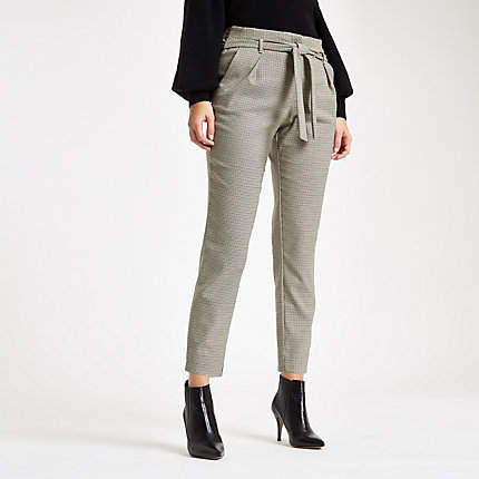 Womens Brown dogtooth check tapered trou...