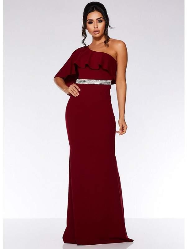 Berry One Shoulder Frill Maxi Dress