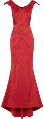 Zac Posen Fluted Satin-Jacquard Gown