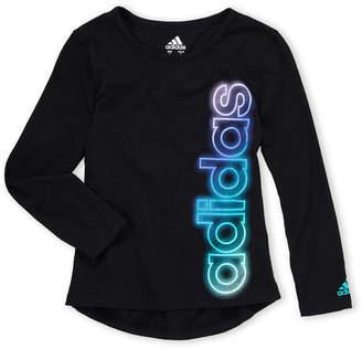 adidas Girls 4-6x) Vertical Glow Logo Tee