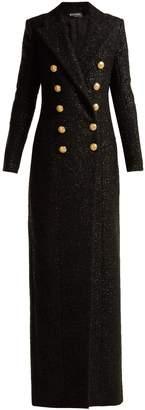Balmain Double-breasted wool-blend tweed coat