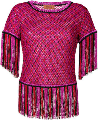 Missoni fringed short sleeve sweater