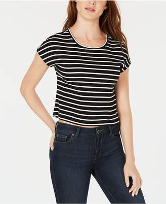 Bar III Striped Cropped T-Shirt, Created for Macy's