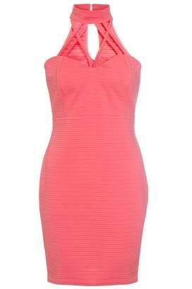 Quiz Coral High Neck Lattice Bodycon Dress