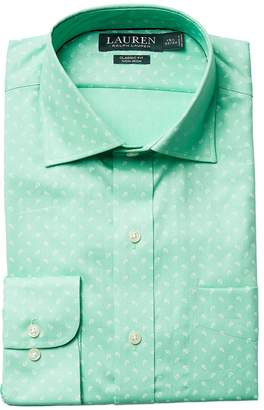 Lauren Ralph Lauren Classic Fit Non Iron Poplin Mini Paisley Print Spread Collar Dress Shirt Men's Long Sleeve Button Up