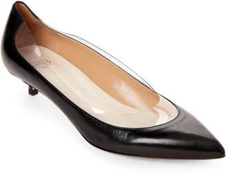 Francesco Russo Pointed Toe Leather Kitten Heel Pumps