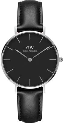 Daniel Wellington Classic Petite Leather silver, white face 32mm case and black leather strap ladies watch