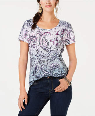 Style&Co. Style & Co Paisley-Print T-Shirt, Created for Macy's