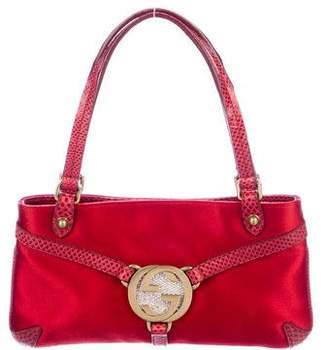 Gucci Karung-Trimmed Satin Reins Evening Bag