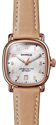 Shinola 36mm The Guardian Rose Golden Date Watch with Leather Strap