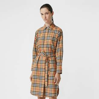 Burberry Vintage Check Cotton Tie-waist Shirt Dress , Size: 10, Yellow