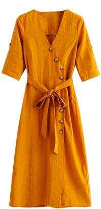 Goodnight Macaroon 'Mikheala' Side Wrap Button Up Midi Dress