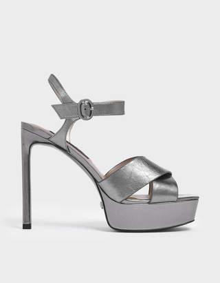 Charles & Keith Satin Platform Stiletto Heels