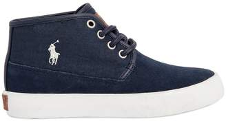 Ralph Lauren Suede & Cotton Canvas High Top Sneakers