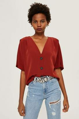 Topshop Pleat Sleeve Blouse