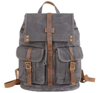 EAZO - Waxed Canvas Backpack with Two Front Pockets Grey